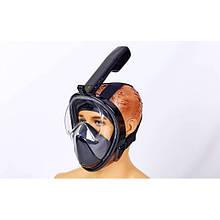 Маска для снорклинга с дыханием через нос Easybreath Swim One (крепление для камеры, р-р S-M, L-XL, черный)