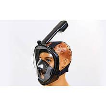 Маска для снорклинга с дыханием через нос Free Breath (крепление для камеры, р-р S-M, L-XL, черный)