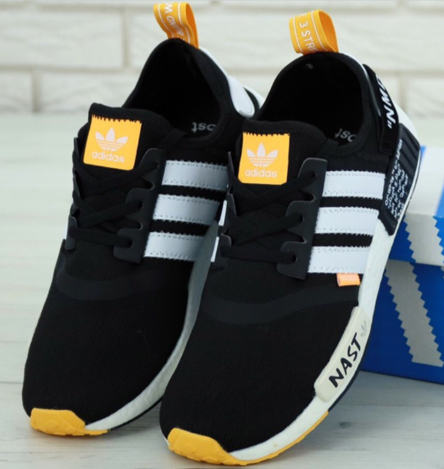Мужские Кроссовки Adidas NMD Off-White Black, Адидас НМД