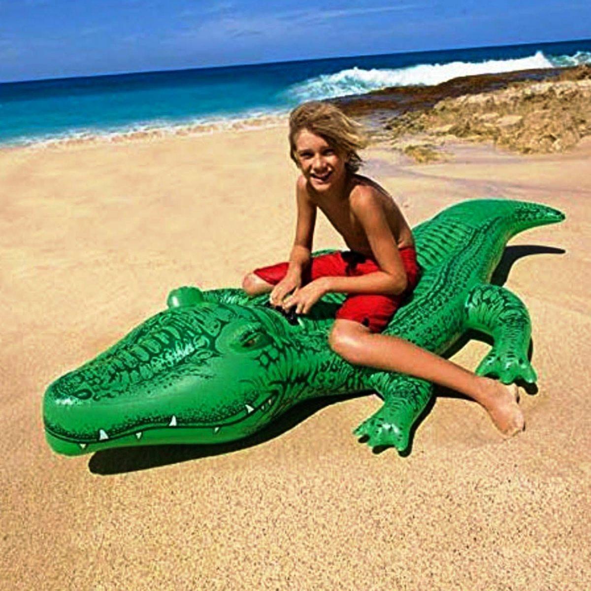 Детский надувной плотик для катания Intex 58546 Крокодил 168 х 86 см