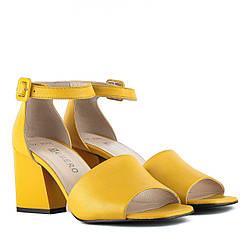 Босоножки женские GUERO (желтого цвета, кожаные, стильные)