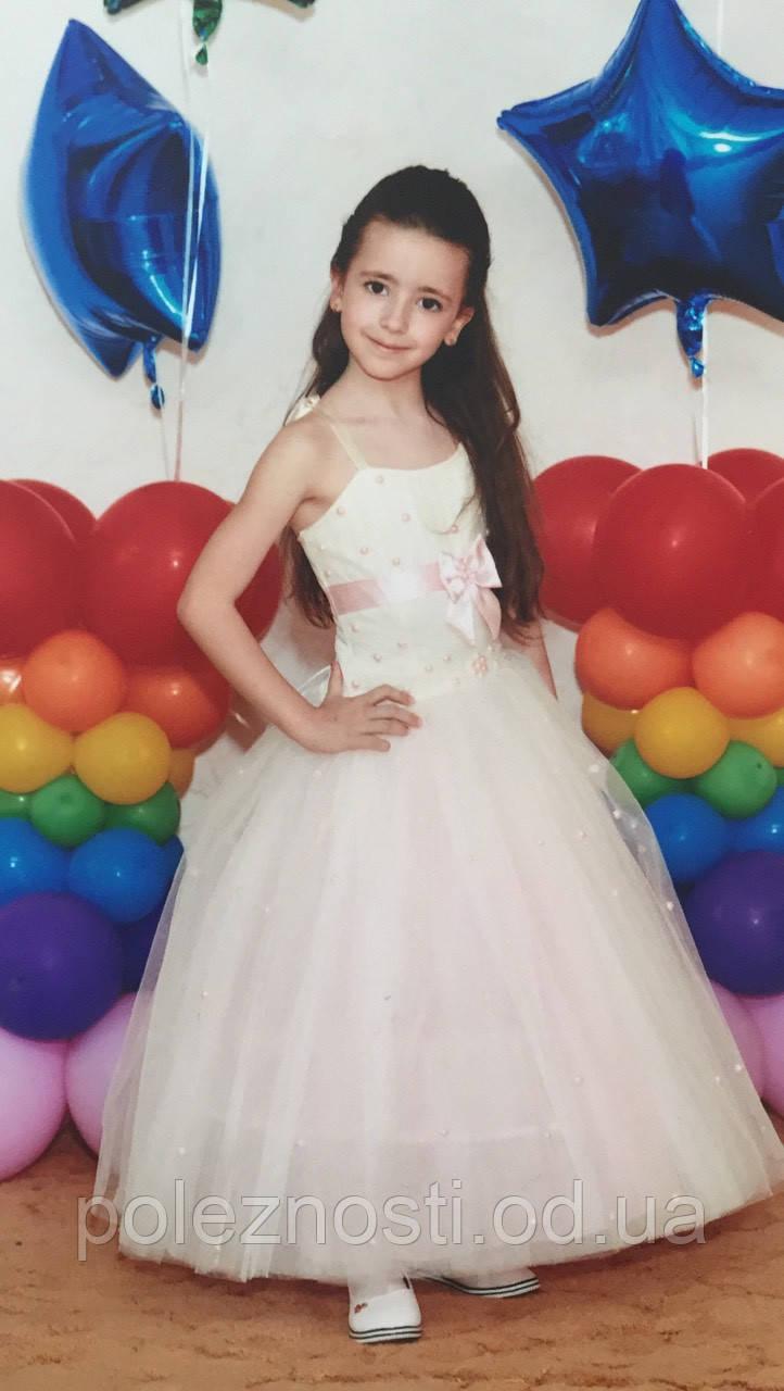Б/У Платье бело-розовое (116-128 рост)