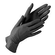 Перчатки нитриловые чёрные, 70 шт