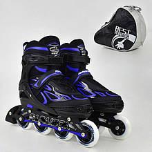 """.Ролики 6006 """"L"""" Blue - Best Roller /размер 39-42/ (6) колёса PU, без света, d=7.6см"""