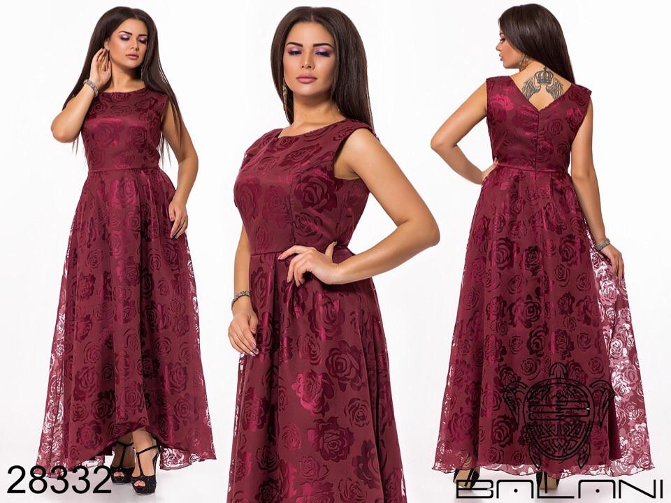 Красивое приталенное женское платье в пол из органзы с напылением 48, 50, 52