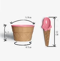 Мороженица с ложечкой (креманка для мороженого) Happy Ice Cream - розовая, Морозивниці, апарати для приготування морозива, Мороженицы, аппараты для