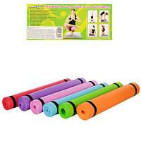 Коврик для йоги, каремат, Profi Fitness (173x60 см.), цвет - красный, Аксесуари для йоги та фітнесу, Аксессуары для йоги и фитнеса