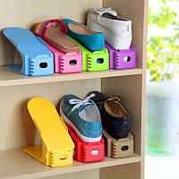 Двойная пластиковая стойка-подставка для хранения обуви - красный, Органайзери для взуття, Органайзеры для обуви