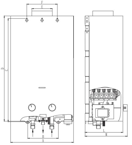 Размеры газового водонагревателя Zanussi GWH 10 Fonte Glass Paradiso