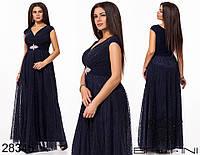Роскошное платье в пол под пояс декорирован стразами и отделкой узора из флок на сетке универсал  48-52