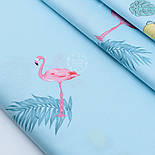 """Лоскут сатина """"Фламинго с пальмовыми ветками и лимонами"""" на голубом №1781с, фото 2"""