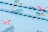 """Лоскут сатина """"Фламинго с пальмовыми ветками и лимонами"""" на голубом №1781с, фото 3"""