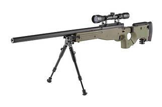 Страйкбольная винтовка снайперская MB08D - с оптикой и сошками - olive [WELL] (для страйкбола), фото 3