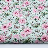 """Отрез ткани """"Бабочки на розовой цветочной поляне"""" на мятном №1819а, размер 50*160, фото 2"""