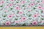"""Отрез ткани """"Бабочки на розовой цветочной поляне"""" на мятном №1819а, размер 50*160, фото 3"""
