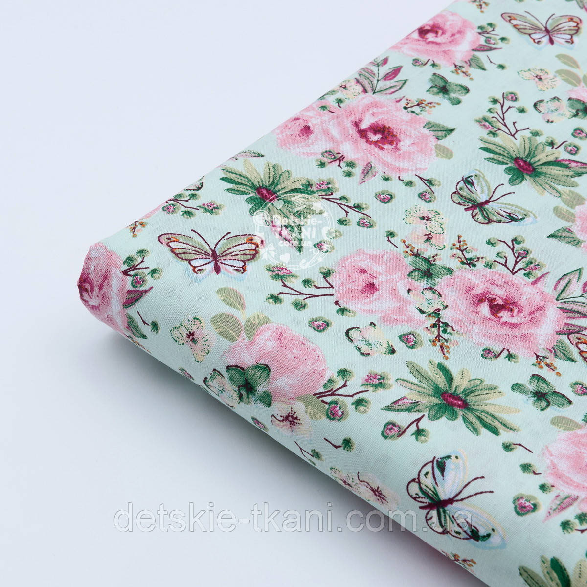 "Отрез ткани ""Бабочки на розовой цветочной поляне"" на мятном №1819а, размер 50*160"