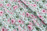 """Отрез ткани """"Бабочки на розовой цветочной поляне"""" на мятном №1819а, размер 50*160, фото 5"""