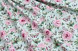 """Отрез ткани """"Бабочки на розовой цветочной поляне"""" на мятном №1819а, размер 50*160, фото 6"""