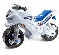 Мотоцикл каталка толокар музыкальный белый.Толокар полиция Орион.