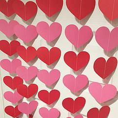 Гірлянда з сердечок 2 метри червоний і ніжно рожевий