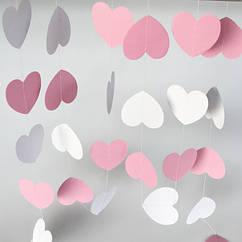 Гірлянда з сердечок 2 метри білий і ніжно рожевий