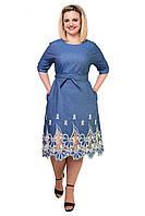 Красивое джинсовое женское платье в размере 46,48,50, фото 1