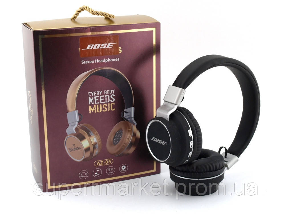 Bose AZ-05 Wireless Headset Extra Bass, Bluetooth наушники с FM MP3, черные
