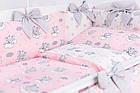Комплект постільної білизни Asik Сплячі слоники на хмарах рожевого кольору 7 предметів (7-325), фото 5