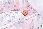 Комплект постільної білизни Asik Сплячі слоники на хмарах рожевого кольору 7 предметів (7-325), фото 3