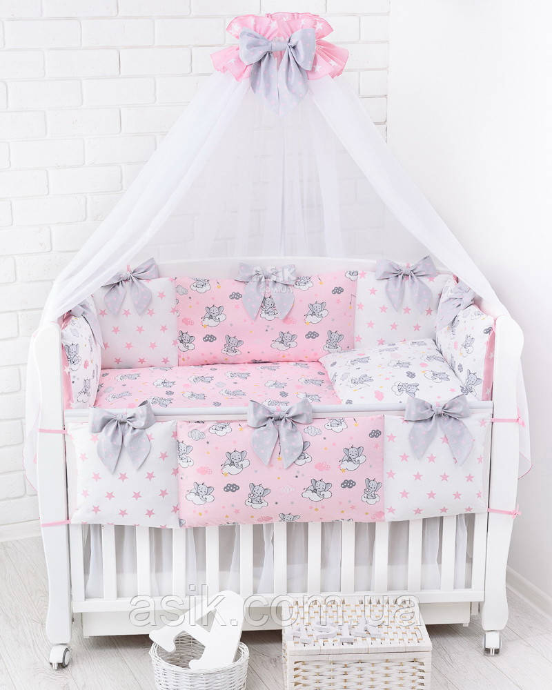 Комплект постельного белья Asik Спящие слоники на облаках розового цвета 7 предметов (7-325)