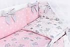 Комплект постільної білизни Asik Сплячі слоники на хмарах рожевого кольору 7 предметів (7-325), фото 8