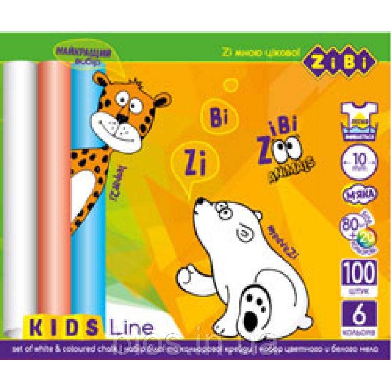 Крейда біла+кольорова 100 шт. картонна коробка Zibi