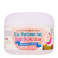 Осветляющий крем с эффектом пилинга ELIZAVECCA Milky Piggy Real Whitening Time Secret Pilling Cream 100 g