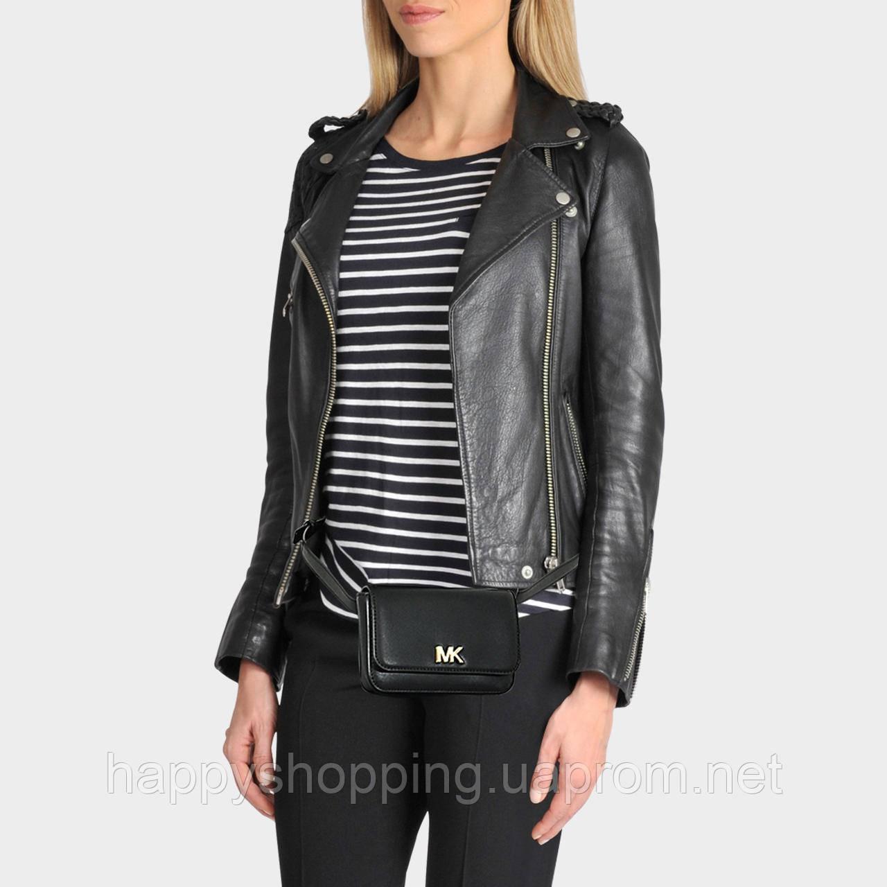 Женская оригинальная черная кожаная поясная сумка популярного бренда Michael Kors