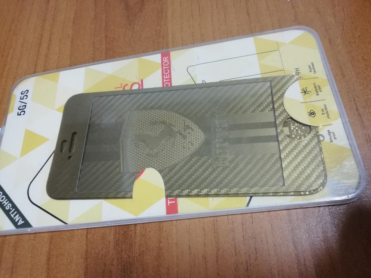 Защитное стекло для iPhone 5 5S SE золотистое Ferrari переднее и заднее