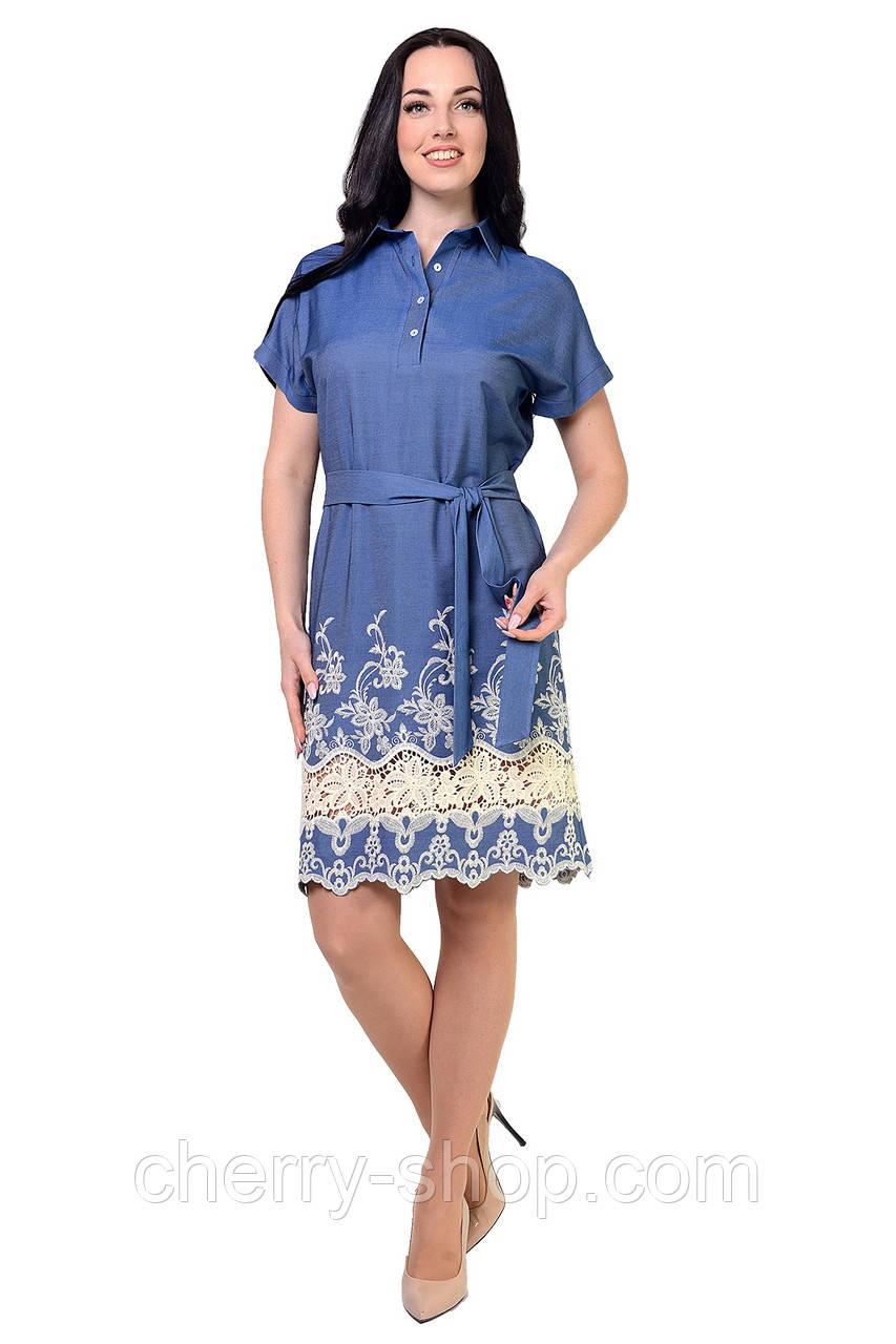 Платье-туника выполнено из ткани облегченный джинс купон