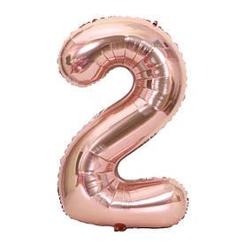"""Фольгированный надувной воздушный шар Цифра 2 Розовое золото 40"""" (102 см)"""