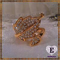 Необычное кольцо-листик с позолотой 585* 16.5
