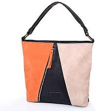 Женская сумка из качественного кожезаменителя  LASKARA (ЛАСКАРА) LK10205-black-orange, фото 2