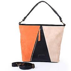 Женская сумка из качественного кожезаменителя  LASKARA (ЛАСКАРА) LK10205-black-orange, фото 3