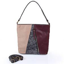Женская сумка из качественного кожезаменителя  LASKARA (ЛАСКАРА) LK10206-black-wine, фото 3