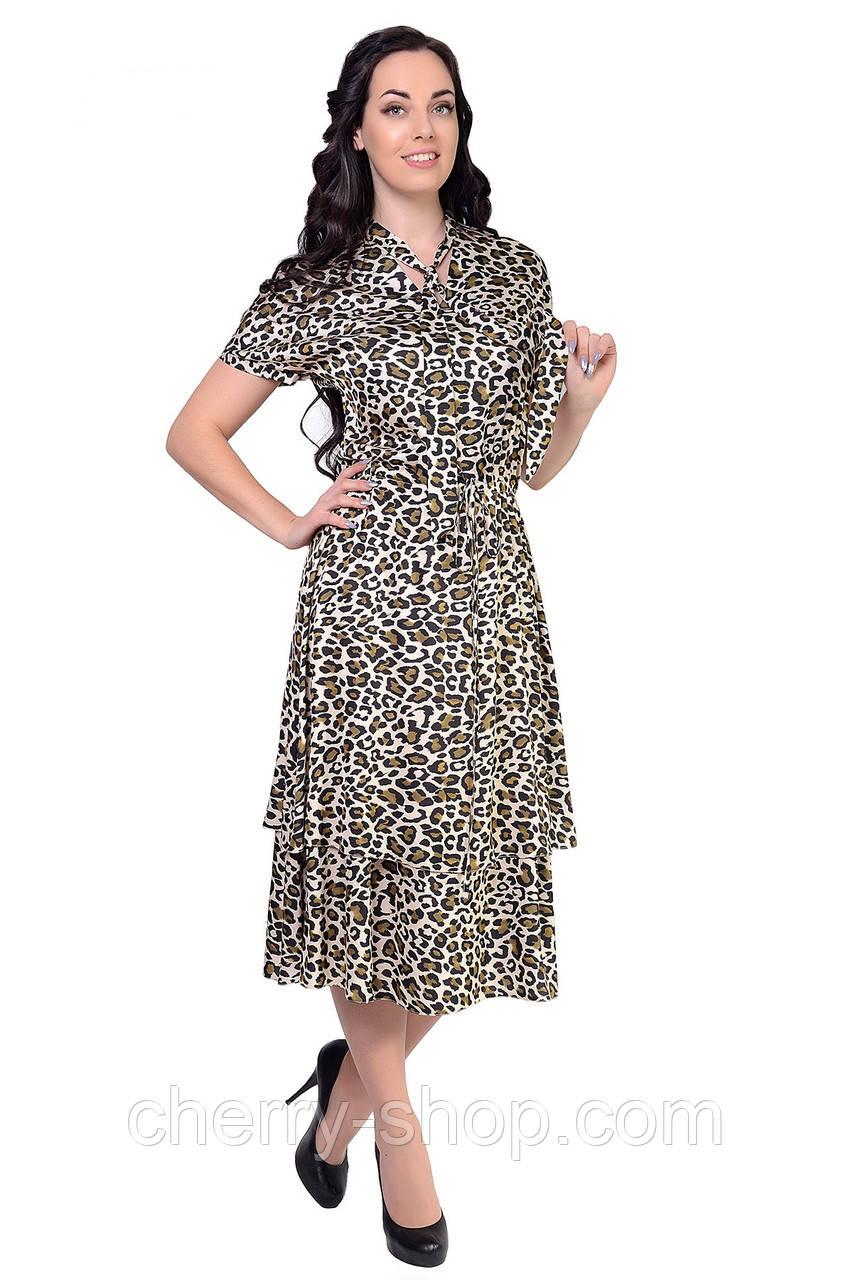 """Воздушное платье выполнено из ткани шелк """"Armani"""" в модный леопардовый принт"""