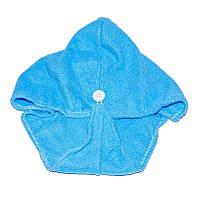 🔝 Тюрбан-полотенце для сушки волос, 52x20 см, Shower cap - голубой | 🎁%🚚