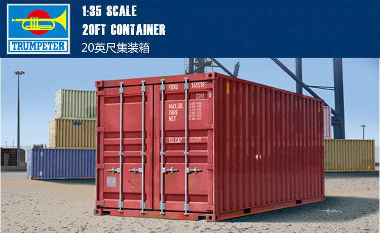 Сборная модель контейнера 20ft. 1/35 TRUMPETER 01029, фото 2