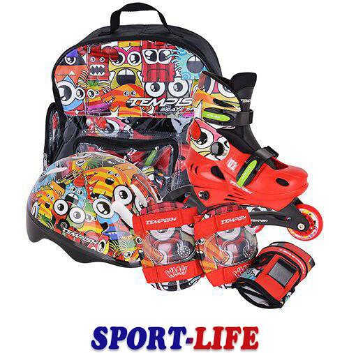 Комплект: ролики, шлем, наколенники, налокотники Tempish MONSTER Baby skate