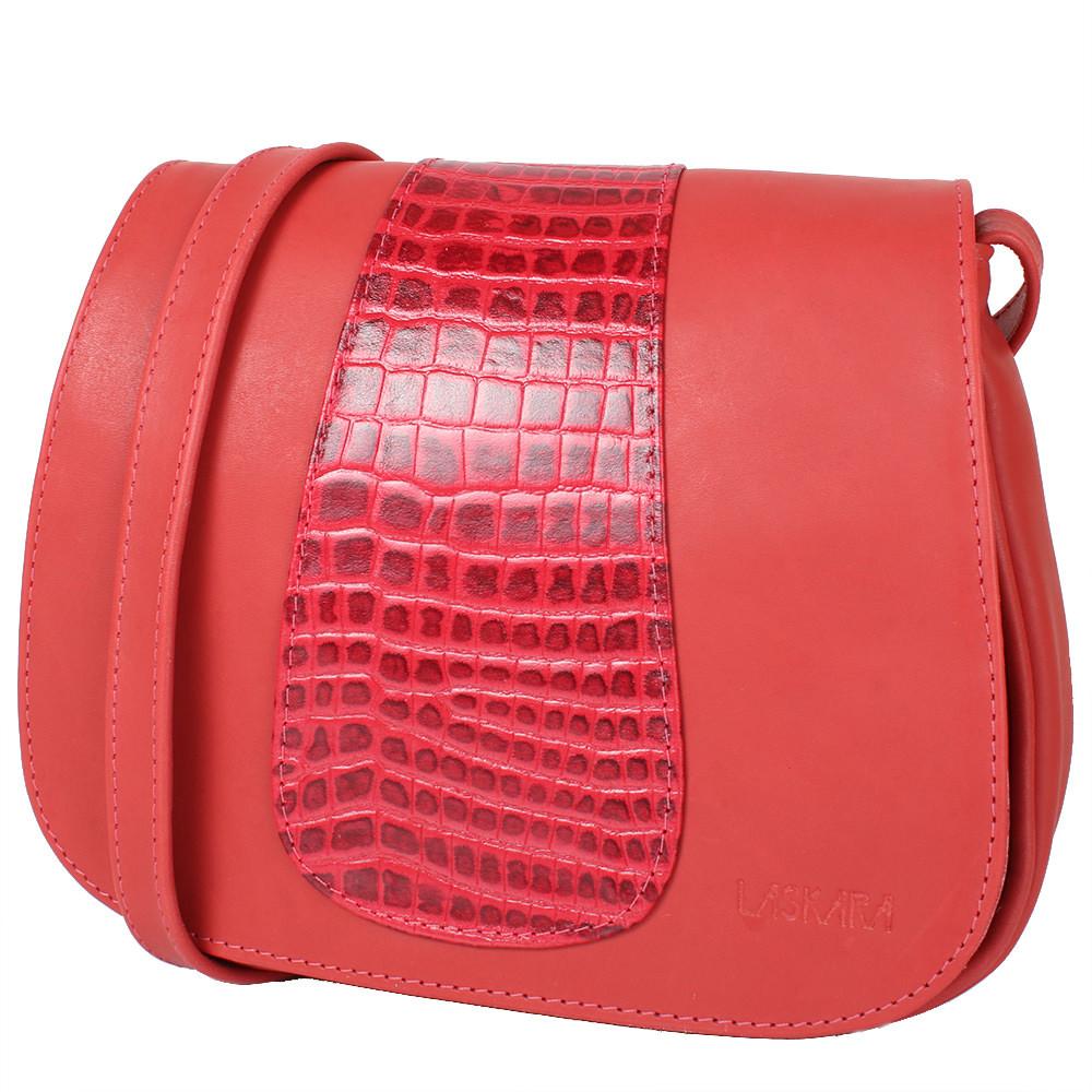 Женская кожаная сумка LASKARA (ЛАСКАРА) LK-DD217-red-croco