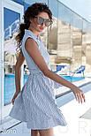 Бавовняне плаття-сорочка в смужку синє, фото 2