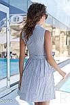 Бавовняне плаття-сорочка в смужку синє, фото 3