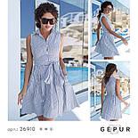 Бавовняне плаття-сорочка в смужку синє, фото 4