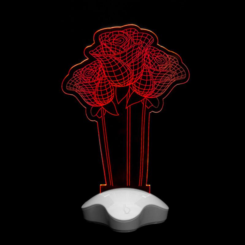 3D лампа, ночник, 3Д светодиодный настольный светильник в виде Розы, детский